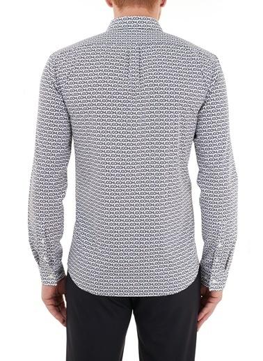 Hugo Boss  Slim Fit Baskılı % 100 Pamuk Gömlek Erkek Gömlek 50449728 405 Lacivert